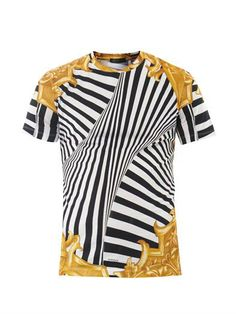 4fb6979e9af90c Versace mens' Barocco cotton T-shirt with classic Versace print in zebra  and baroque