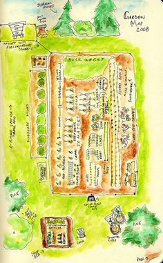 garden map 2008 by beegirl211, use seasonal watercolor paintings of floral gardens to get an idea of colors and composition