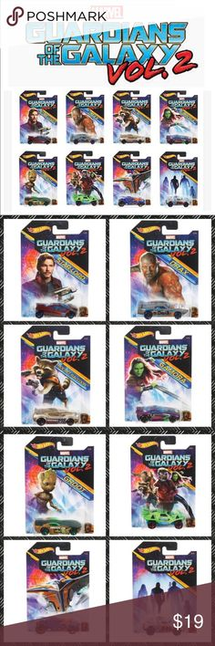 Bag of Hot Wheels- Guardians of the Galaxy NEW Sold as a set Brand New Full Set of Hot Wheels Guardian of Galaxy Vol. 2 Diecast cars by Marvel- all in original packaging. 2017 The Set includes: ✔️Sling Shot / Star-Lord ✔️Rivited / Drax ✔️Fast Fish / Rocket Raccoon ✔️Scorcher / Gamora ✔️Solar Reflex / Groot ✔️Quicksand ✔️Rocketfire ✔️RD-08 Price firm unless bundled. Guardians of the Galaxy Accessories Bags