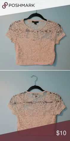 Lacey Floral Cropped Shirt Zipper on the side for better fit. Worn twice. 100% nylon Forever 21 Tops Crop Tops