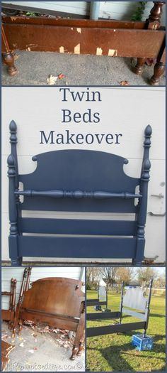 Twin Bed Makeover with DIY tips on Veneer, paint sprayer and more.
