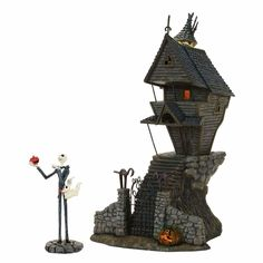 Bring The Nightmare Before Christmas into your home with this ghoulish Pumpkin King Jack Skellington, his ghost dog Zero, and his nightmarish abode. Shop now! Jack Skellington, Department 56, Halloween Town, Halloween 2017, Halloween Village Display, Halloween Fairy, Halloween Queen, Halloween Jack, Halloween Stuff
