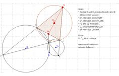 Dynamic Geometry Problem 898: Intersecting Circles, Common External Tangent, Secant, Circumcenter, Collinear Points. HTML5 Animation for Tablets. School, College, Math Education, GeoGebra.