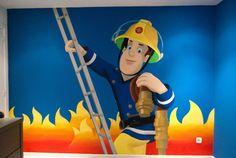 Muurschildering brandweerman Sam on Lizart  http://lizart.be/wp-content/uploads/muurschilderingen-met-andere-bekende-figuren/muurschildering-brandweerman-sam.jpg