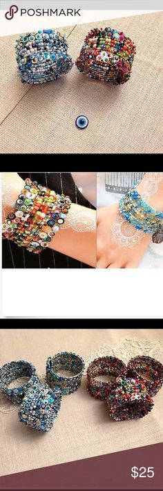 TURKISH OTTOMAN STYLE EVIL EYE BEADED  BRACELET TURKISH OTTOMAN STYLE EVIL EYE BEADED COLORFUL BRACELET ONE OF A KIND comes i two different colors hand made Jewelry Bracelets