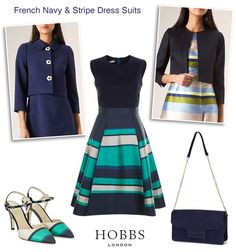 Hobbs Navy Stripe Occasion Dress Suits
