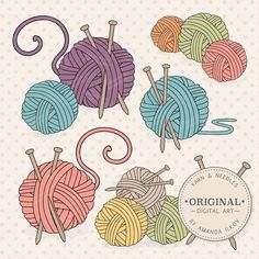 Premium Knitting Clipart & Vectors - Knitting Clip Art, Knitting Vectors, Yarn Clipart, Knitting Nee