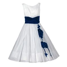 1950's Vintage Sapphire-Blue Velvet Roses Applique White-Chiffon Bridal Party Dress JUST LISTED on www.TimelessVixen.com