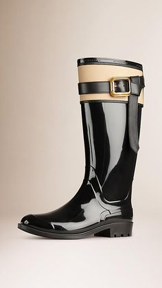 Belted Equestrian Rain Boots Black/honey