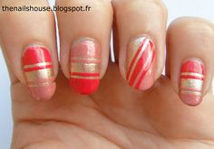 pink, gold and coral nail art