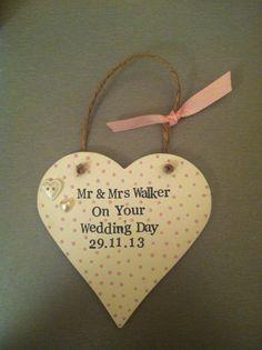 Wedding gift. Hanging heart. Decorated wooden heart, keepsake, polka dots.