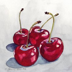 Watercolor Wall Art, Four Red Cherries, Watercolor Art Print, 11x14 Print of my original watercolor painting of four juicy red cherries. I recently did a commission for another version of my first, smaller red cherries painting, but with a grey background. Now I am offering this larger version as a print. The image is on photo paper with pigment inks and is archival. This print measures 11x14, unmatted. Each print is part of a limited edition, signed and numbered by the artist. Print is u...
