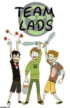 Achievement Hunter: Team Lads<3 (Left to Right) Ray, Gavin, & Michael.