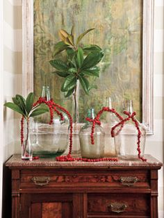 Cranberries Example - Love the way they strung together the cranberries and used them as draping garland.