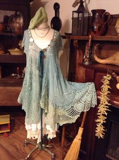Luv Lucy crochet dress Lucy's Sea Siren  by TheVintageRaven, $235.00.  I love to soft muted colors in this dress.