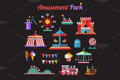Amusement Park Icons. Party