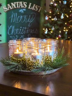 Christmas Mason Jar Luminaries Centerpiece