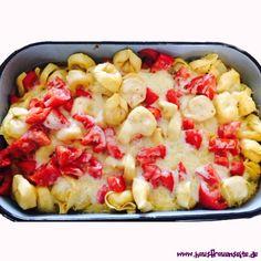 Tortelliniauflauf mit Käse und Tomaten - Tortellinirezept  Tortelliniauflauf mit Käse, Tomaten und Spinat-Tortellini vegetarisch