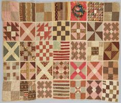 Soldiers' Aid Quilt with each block   individually quilted and bound   in the current exhibit at the Wadsworth Atheneum