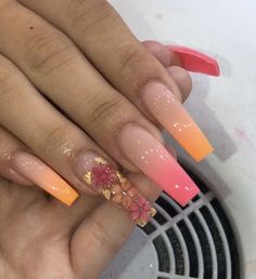 In search for some nail designs and some ideas for your nails? Here is our list of must-try coffin acrylic nails for modern women. Bright Summer Acrylic Nails, Best Acrylic Nails, Acrylic Nail Designs, Orange Acrylic Nails, Pastel Nails, Aycrlic Nails, Bling Nails, Coffin Nails, Manicures