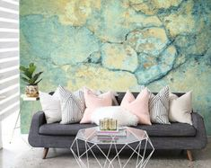 I'm Blue(ish) - Cement Wallpaper - Faded Paint - Adhesive Wallpaper - Removable Wallpaper - Wall Sticker - Mural - Customizable Wallpaper