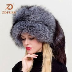 Women's Russian Ushanka Aviator Trapper Fox Fur Bombers Hat ZDH-161013 ❤️ Pin it please on your board