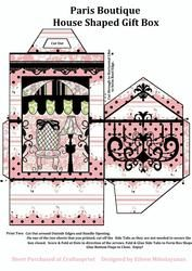 Paris Chic Boutique House Shaped Gift Box With Directions