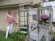 """Recycle and """"Go Green"""" this has a couple of ideas for you to share! How to make a privacy fence out of old doors and other ideas."""