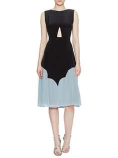 Silk Cut Out Dress with Tassel Tie from See by Chloé on Gilt