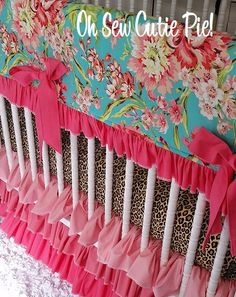 Pink & Teal Shabby Chic Girl Baby Bedding.  Shabby Chic meets Cheetah girl ~ Teal, Lime, Cheetah, Pinks and Corals