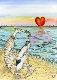 Tirage d'Art chien - Greyhound Valentine Illustration