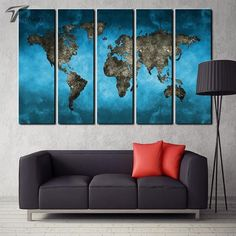 Navy blue and beige world map canvas map canvas canvases and free world map in teal gumiabroncs Image collections