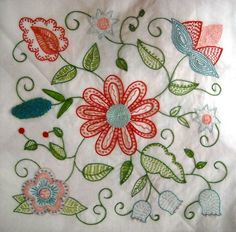 Embroidery Block 1 of the Hazel's Summer Wildflowers Quilt-Along. (Or are you calling it Hazel Ilene's Veritable Rubicon of Wildflowers?) My best friend has already dubbed hers & Jacobean Embroidery, Learn Embroidery, Embroidery Applique, Cross Stitch Embroidery, Machine Embroidery, Flower Embroidery, Vintage Embroidery, Embroidery Thread, Embroidery Transfers