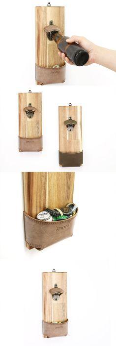 Wall mount opener. Wood Wall Beer Bottle Opener. Beer Gifts.Wall decor. opener, Wall opner, leather opener