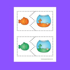 Free Rainbow Fish and Bowls Color Matching Printable Cards Rainbow Fish Activities, Summer Activities For Toddlers, Color Activities, Preschool Activities, Work Activities, Rainbow Fish Book, Time Planner, Monthly Themes, Matching Cards