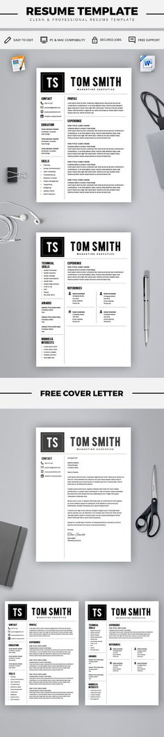 Two Page Resume Template - Resume Builder - CV Template - Free - cover letter and resume templates for microsoft word