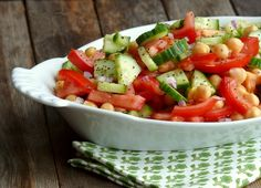 Cumcumber, Tomato and Chickpea Salad, serve all year long and perfect for entertaining from NoblePig.com