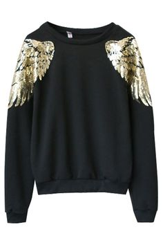 Sequined Angel Wings Round Neck Sweatshirt with Long Sleeve
