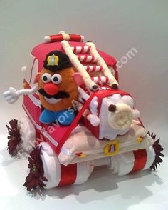 Fire Truck Diaper Cake - 9990106 - Baby Boy - Diaper Cakes - by Babyfavorsandgifts