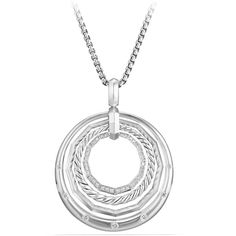 David Yurman Stax Round Pendant Necklace with Diamonds ($1,500) ❤ liked on Polyvore featuring jewelry, necklaces, silver, diamond necklace, david yurman necklace, adjustable necklace, david yurman pendants and round pendant necklace