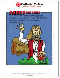 Saints Fun Facts - St. John of Avila by Catholic Shopping .com | Catholic Shopping .com FREE Digital Download PDF