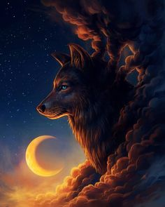 ✔ Anime Wolf Wallpaper The Moon Anime Wolf, Sky Anime, Wolf Spirit, Spirit Animal, Fantasy Wolf, Fantasy Art, Fantasy Dragon, Wolf Artwork, Wolf Wallpaper