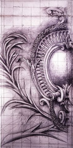 Cartouche, Hanover Lodge. Exhibited 2004. Drawn by Francis Terry. Pencil on paper.