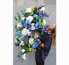 dekoracja / wiązanka nagrobna XXL Niebieska