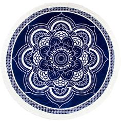 Slippa The Lotus Round Towel ($80) ❤ liked on Polyvore featuring home, bed & bath, bath, beach towels, blue, blue beach towel, round beach towel, plush beach towels, jacquard beach towel and circular beach towel