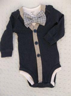 Baby Boy Cardigan Onepiece Grey Gingham Bowtie by groovyapplique Braxton needs this!!!