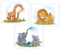 "Jungle Theme Childrens Wall Art Set - Giraffes, Lions, Elephants - Three 8"" X 10"" Prints"
