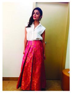 Alia Bhatt in payalkhandwala Silk Shirt and Brocade Palazzo
