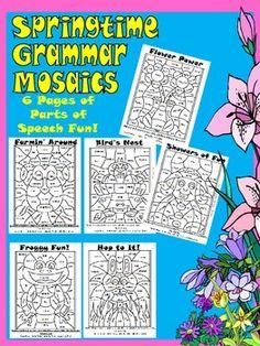 Grammar Mosaics-Nouns,Verbs,Adjectives, Adverbs- Color by Part of Speech