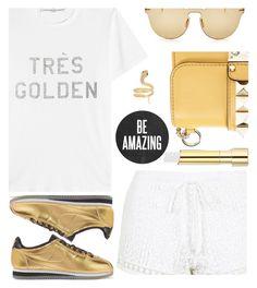 """Gold and White"" by rasa-j ❤ liked on Polyvore featuring Golden Goose, Illesteva, NIKE, Topshop, Valentino, Iconery Basics, Stila and womensFashion"